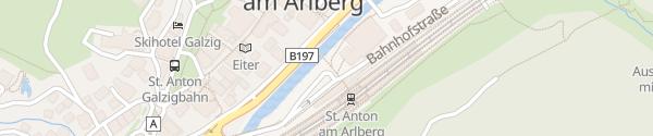 Karte Bahnhof St. Anton am Arlberg