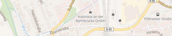 Karte Autohaus an der Bahnbrücke Saalfeld/Saale