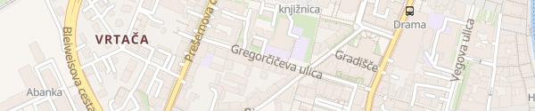 Karte Gregorčičeva ulica Ljubljana