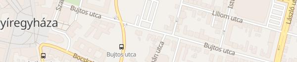 Karte Bujtos utca Nyíregyháza