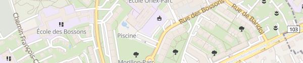 Karte Parkplatz Schwimmbad Onex