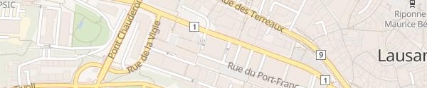 Karte Destination Charging Parking du Centre Lausanne