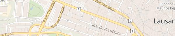 Karte Parking du centre Lausanne