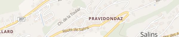 Karte Chemin du Moulin Pravidondaz