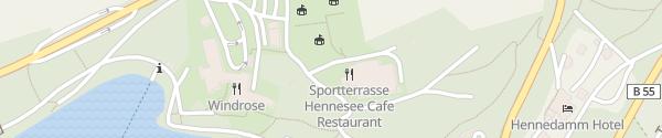 Karte Sportterrasse  Hennesee Meschede