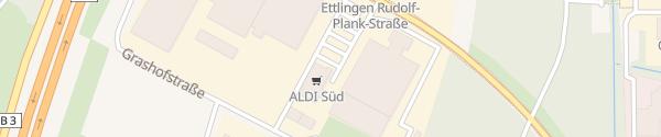Karte ALDI Süd Rudolf-Plank-Straße Ettlingen