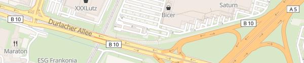 Karte EnBW Ladepark Durlach Center Karlsruhe