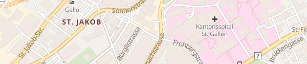 Karte Parkhaus Stadtpark AZSG St.Gallen