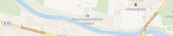 Karte Wohnmobilstellplatz Am Kocherdamm Gaildorf